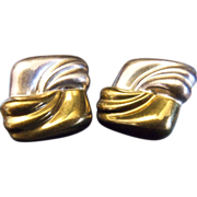 Modernist Mexican Two Tone Silver Clip Back Earrings. TE-39