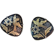 REDUCED Vintage Black and Gold Damascene Earrings