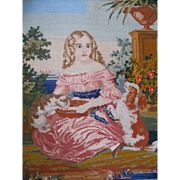 SOLD Antique needlepoint woolwork embroidery, girl, dog, cat
