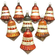 SOLD 8 Vintage Glass Bell  Christmas Ornaments
