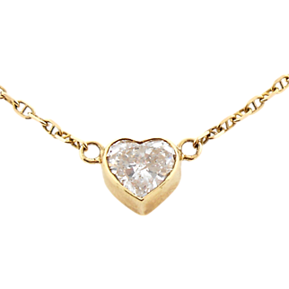 Vintage 1.82 Carat Diamond Heart Solitaire Pendant Necklace 14K Yellow Gold
