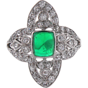 Vintage Art Deco Sugar Loaf Emerald Ring Diamond Accent Platinum