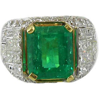 Impressive Vintage Emerald and Diamond Ring 8+ Carat Total Weight 18K Two Tone Ring