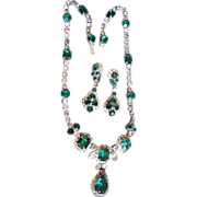 SALE Kramer of NY Simulated Emerald Set