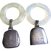 2 Sterling Baby Rattle MOP 1926