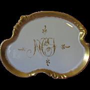 Limoges Dresser Tray W.G. Co. - Gold Trim