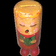 Vintage wooden PUSH UP Toy--Happy Birthday Angel--