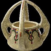 Art Nouveau Amphora Pottery Basket Vase