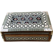 SOLD Decorative Box inlaid with Wood, Horn, Mother of Pearl - Red Tag Sale Item