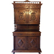 REDUCED French Oak Hutch Henri II Style
