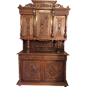 REDUCED French Henri II Style Hutch with intricate carvings