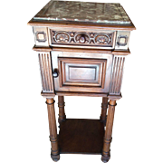 REDUCED French Walnut Nightstand Henri II Style with marble top