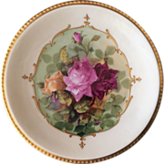 Limoges hand painted plate with multi colored roses
