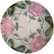 French Majolica plate with pink roses made by Onnaing