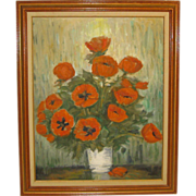 SALE Vintage RICHARD GORDON PACKER 'Oriental Poppies' Still Life Flowers Oil Painting