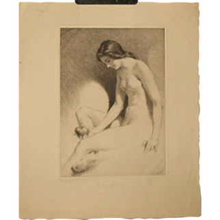SALE Original GEORGE TOBIN (1864-1956) *Contemplation* Nude woman w APPLE etching