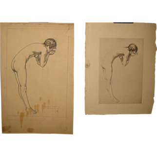 SALE Original GEORGE TOBIN (1864-1956) *The Spring* Nude woman DRAWING & etching