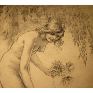 SALE Original GEORGE TOBIN (1864-1956) *Nude Woman picking water lilies* pencil drawing