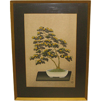 Vintage NISABURO ITO 'Potted Chrysanthemum' Yellow Flowers Bonsai Tree JAPANESE Woodcut