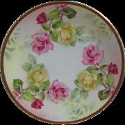 Vintage Prussia Royal Rudolstadt Pink Yellow Rose Decorative Plate measure 8 1/2 inch diameter