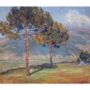 "Wind in the Trees, Anticola, Italy, 1912 Oil on Canvas, 13.75 x 16""  (Image)"