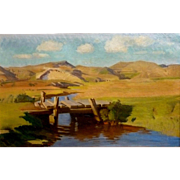 "The Bridge, 1942, Oil on Canvas, 22 x 37,"" plus frame"
