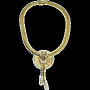 Early 1948 BOUCHER Deco Style Rhinestone Lattice FUR CLIP Snake Chain NECKLACE