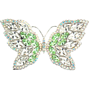 Huge Authentic Swan SWAROVSKI Retired BUTTERFLY Figural Crystal Rhinestone Brooch Pin