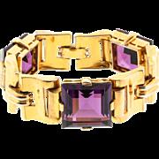 Vtg Philippe TRIFARI Art Deco Style Amethyst Glass Chunky Link Tank BRACELET