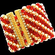 Vtg Massive X-Wide Fx Pearl Faceted RED Glass Bead Rhinestone WRAP Cuff Bracelet