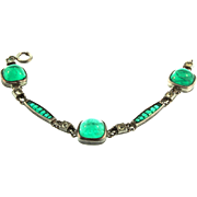 Art Deco Sterling GEORGE CAHOONE Invisibly Set Flawed Emerald Glass Paste BRACELET
