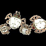 1940s CORO Twinkling Twins Sterling Jelly Belly BUG Figural Pin Clips & Earrings