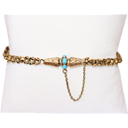 Antique Early Victorian 15 carat yellow gold and turquoise bracelet - circa 1860