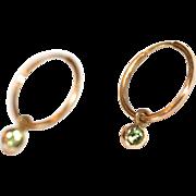 Vintage 14 carat yellow gold hoop earrings and detachable peridot drops