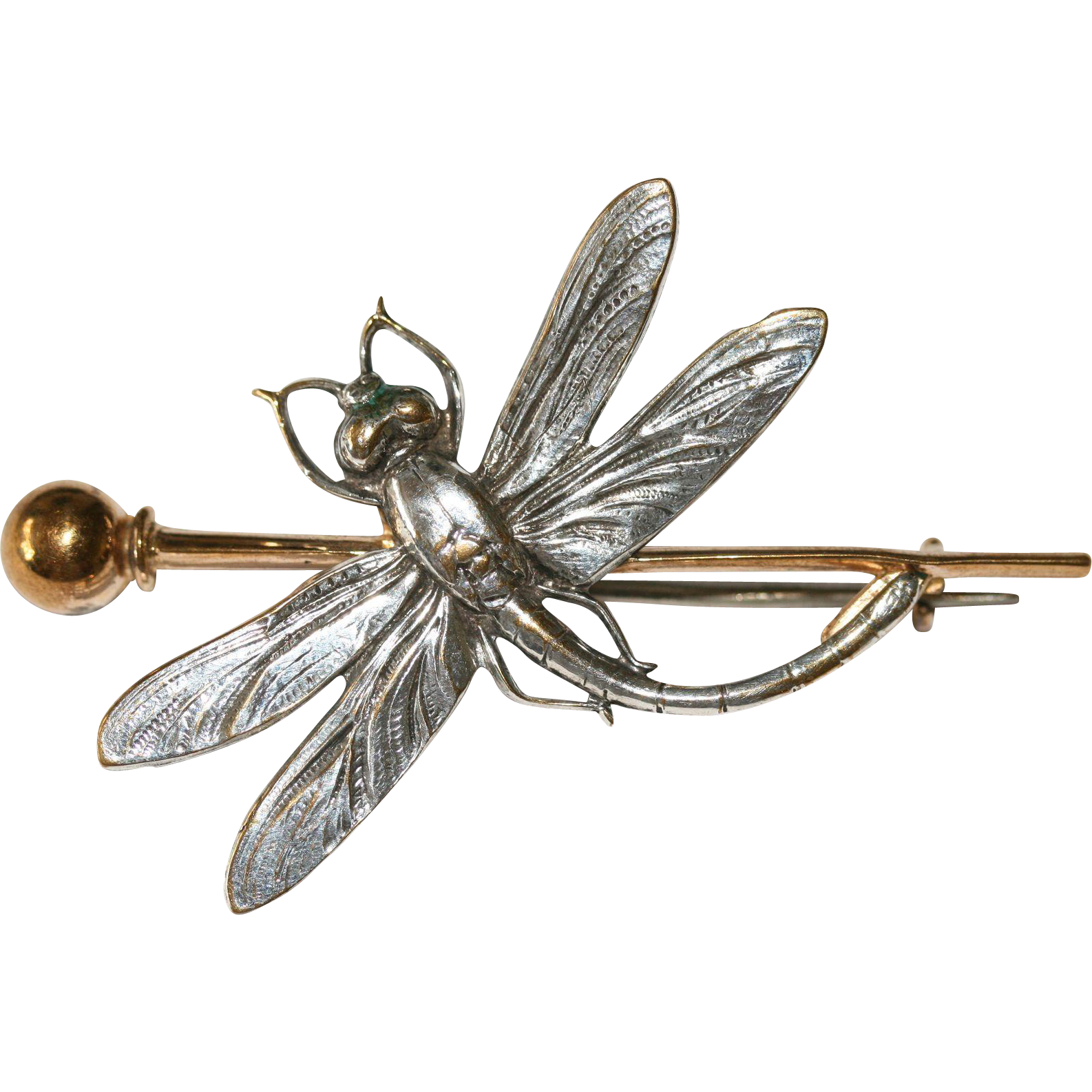 Antique Victorian Art Nouveau Metal Gilt Dragonfly Brooch