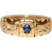Antique Victorian 18 carat yellow gold, sapphire and diamond gypsy ring - circa 1880