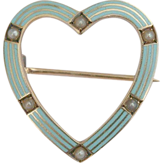 Antique Riker Brothers 14 carat gold blue enamel seed pearl heart pin/brooch