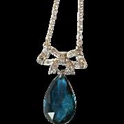 Fine Vintage Art Deco 18 carat gold, platinum, diamond bow and rare blue tourmaline drop ...
