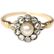 RARE Fine Antique signed Mappin & Webb 18 carat gold, silver, pearl and diamond cluster ring .