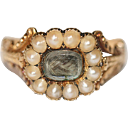 Fine Antique Georgian 18 carat gold, pearl and hair mourning ring - circa 1830