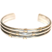 Fab Vintage sterling silver and gold plated bamboo bangle - circa 1970