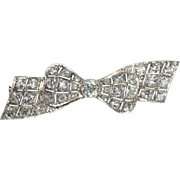 Superb Antique Edwardian Platinum and diamond bow pin brooch est tcw 2.41 carats - circa ...