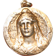 SOLD RARE Antique Signed P. Habeir Patriotic WWI St. Joan of Arc silver gilt medal pendant - c