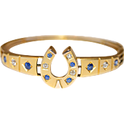 Lucky Fine Antique Victorian 15 carat gold, diamond and sapphire horse shoe bangle - circa 188