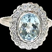 Vintage English Art Deco 18 carat white gold Aquamarine Diamond Cluster ring