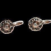 SALE Fine Antique 18 carat rose gold and diamond earrings - circa 1860
