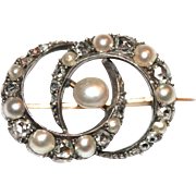 Unique Antique Victorian 18 carat gold, silver, pearl and rose cut diamond double crescent ...
