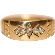 """Harry to Jess"" Fine Antique 18 carat yellow gold diamond gypsy ring - circa 1890"