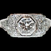 SUPERB Vintage Art Deco platinum diamond ring est tcw 1.08 carats - circa 1925