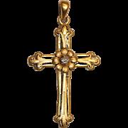 ART NOUVEAU Antique 18K gold diamond cross and daisy pendant - circa 1895